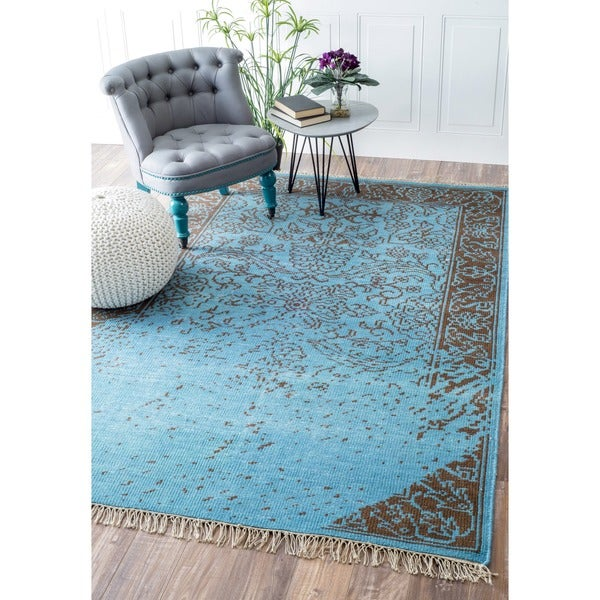 Nuloom Vintage Inspired Turquoise Overdyed Rug: Shop NuLOOM Hand-knotted Vintage-inspired Overdyed