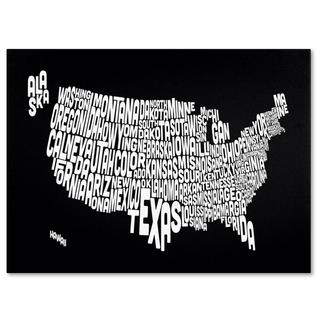 Michael Tompsett 'USA States Text Map in Black' Canvas Art