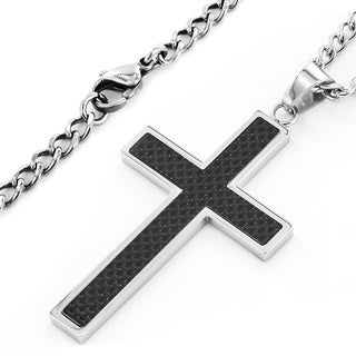 Crucible Stainless Steel Men's Carbon Fiber Inlay Cross Pendant Necklace