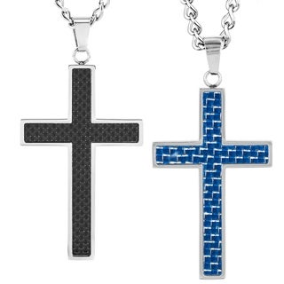 Crucible Stainless Steel Men's Carbon Fiber Inlay Cross Pendant Necklace (2 options available)