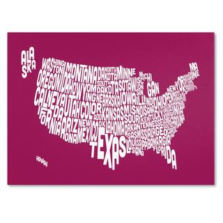 Michael Tompsett 'USA States Text Map in Raspberry' Canvas Art