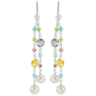 Pearls For You Sterling Silver FW Pearl and Multi-gemstone Earrings (4-7.5 mm)