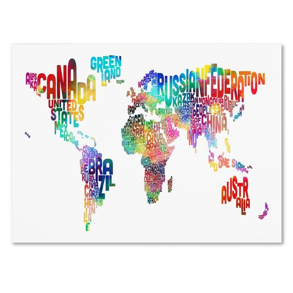 Michael tompsett world text map canvas art free shipping today michael tompsett x27world text mapx27 canvas art gumiabroncs Gallery