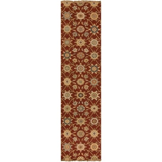"Hand-knotted Caden Red New Zealand Wool Transitional Floral Rug (2'6"" x 10')"