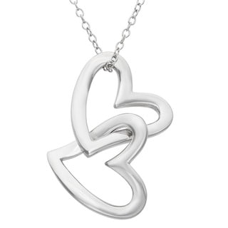 Gioelli Sterling Silver Double Open Heart Necklace