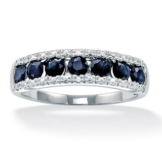 1.05 TCW Genuine Round Blue Sapphire and Diamond Accent Ring in Platinum over Sterling Sil