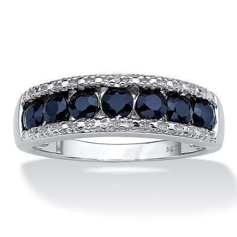 Platinum over Sterling Silver Blue Sapphire and Diamond Accent Ring