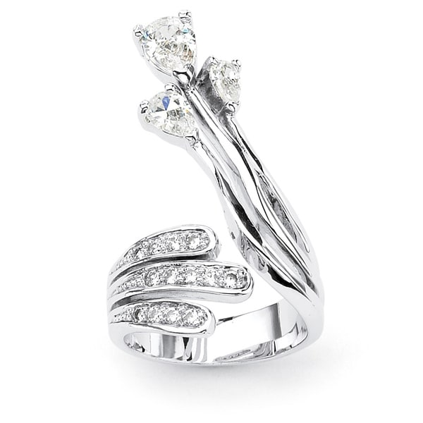 Pear Cut and Round Cubic Zirconia Platinum-Plated Crossover Ring Glam CZ