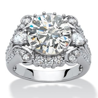 Platinum over Sterling Silver Cubic Zirconia Scrolled Engagement Ring - White