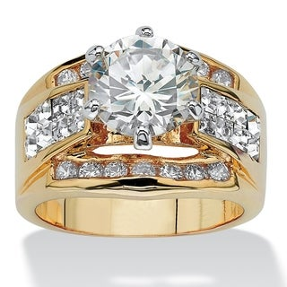 Yellow Gold-plated Cubic Zirconia and Crystal Engagement Ring - White