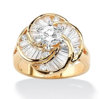 6.76 TCW Round Cubic Zirconia 14k Gold-Plated Cocktail Ring Glam CZ