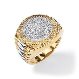 Men'S Goldplated Sterling Silver 1/7 Tcw Round Pave Diamond Two-Tone Ribbed Ring