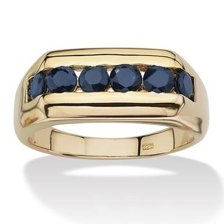 1.74 TCW Men's Channel-Set Midnight Blue Genuine Sapphire 18k Gold over Sterling Silver Ri