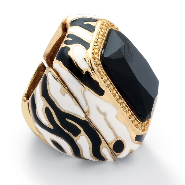 PalmBeach Black Crystal Enamel Zebra Expandable Stretch Ring in Yellow Gold Tone Bold Fashion