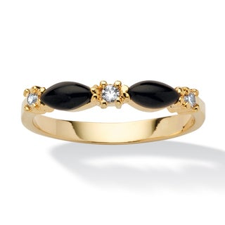 Marquise-Shaped Genuine Onyx Crystal Accent 14k Yellow Gold-Plated Band Ring Naturalist