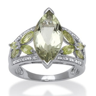 PalmBeach 4.73 TCW Marquise-Cut Green Genuine Amethyst and Genuine Peridot Platinum over Sterling Silver Ring