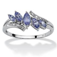 .76 TCW Marquise-Cut Genuine Purple Tanzanite with Diamond Accent Platinum over Sterling S