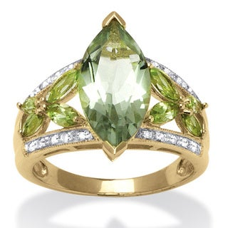 4.83 TCW Marquise-Cut Genuine Green Amethyst and Diamond Ring in 18k Gold over Sterling Si