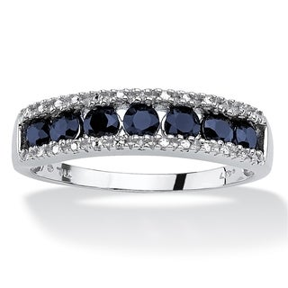 PalmBeach 1.05 TCW Round Genuine Blue Sapphire and Diamond Accent 10k White Gold Ring