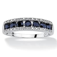 10K White Gold Genuine Blue Sapphire and Diamond Accent Ring
