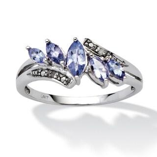 .76 TCW Marquise-Cut Purple Genuine Tanzanite Diamond Accent 10k White Gold Classic Ring