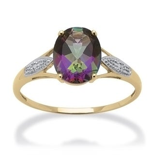 3.50 TCW Genuine Oval-Cut Fire Topaz and Diamond Accented Ring in 10k Gold