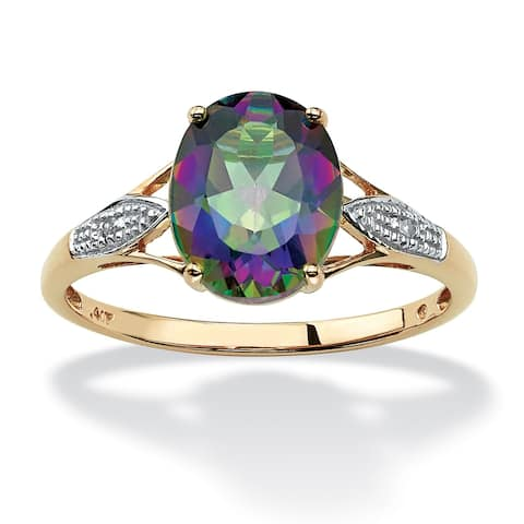 10K Yellow Gold Genuine Mystic Fire Topaz and Diamond Accent Ring