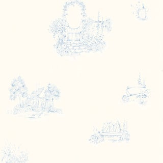 Brewster Home Fashions Light Blue Cottage Garden Wallpaper