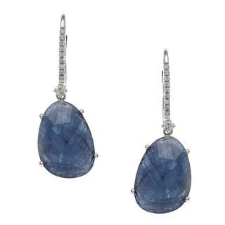 14k White Gold Sapphire and 1/8ct TDW Diamond Earrings (H-I, I1-I2)