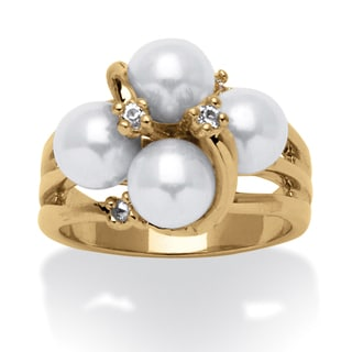 PalmBeach Round Simulated Pearl and Austrian Crystal Accent Ring in 14k Yellow Gold Plating Naturalist