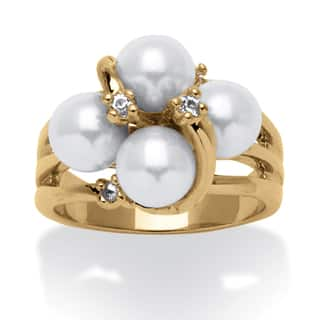 Round Simulated Pearl and Austrian Crystal Accent Ring in 14k Yellow Gold Plating Naturali|https://ak1.ostkcdn.com/images/products/8134269/P15478744.jpg?impolicy=medium