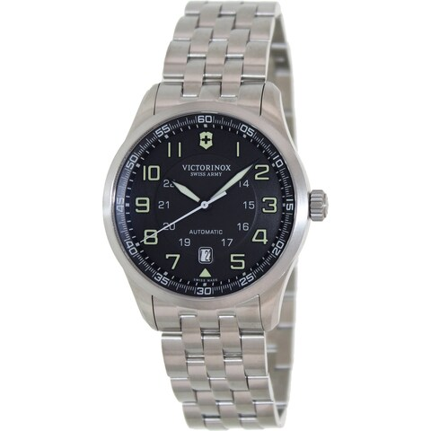 Victorinox Swiss Army Men's Airboss Silver Stainless Steel Grey Dial Swiss Automatic Watch