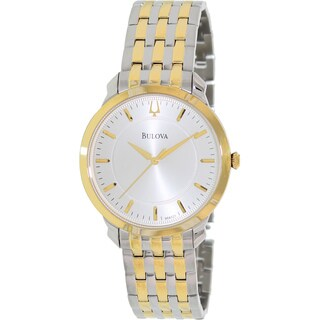 Bulova Men's Dress 2-tone Stainless Steel Quartz Watch with Silver Dial