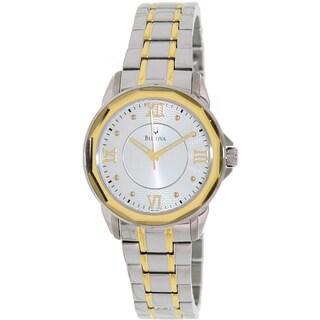 Bulova Women's Dress 98L166 2-tone Stainless Steel Quartz Watch with Silver Dial