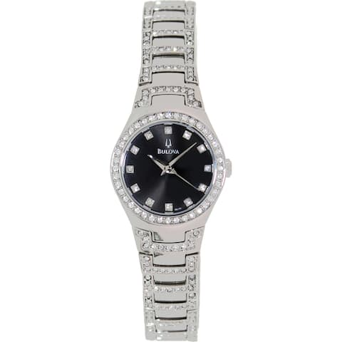 Bulova Women's Crystal Silver Stainless Steel Quartz Watch with Black Dial