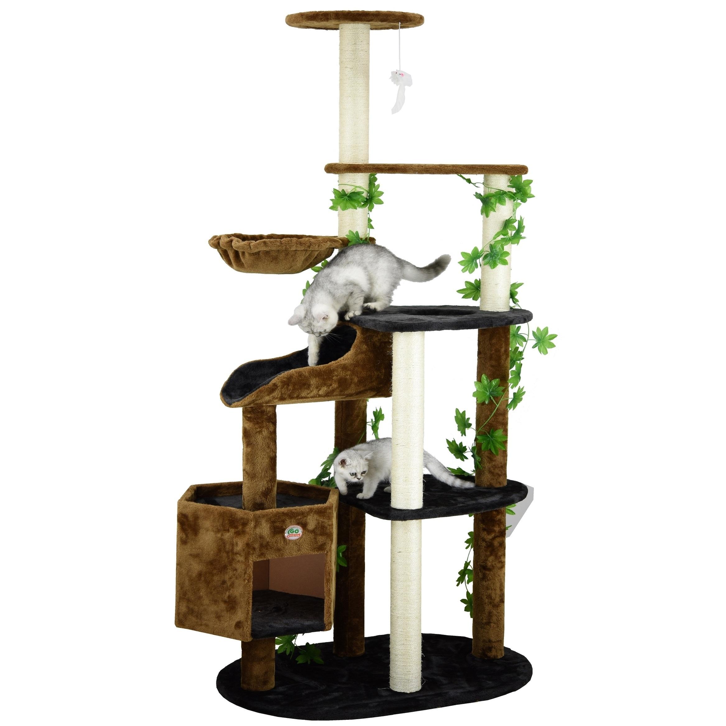 GoPetClub Cat Tree Furniture 74-inch High Brown/ Black (B...