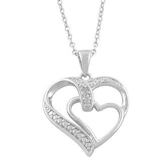 Fremada Sterling Silver Diamond Accent Double Heart Necklace