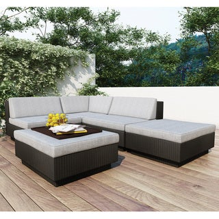 Oliver & James Balla Textured Black 5-piece Outdoor Sectional Set