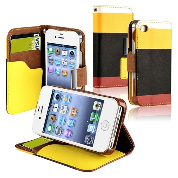 BasAcc Yellow/ Black/ Red Leather Wallet Case for Apple® iPhone 4/ 4S