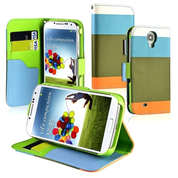 BasAcc Blue/ Khaki/ Orange Leather Wallet Case for Samsung© Galaxy S4