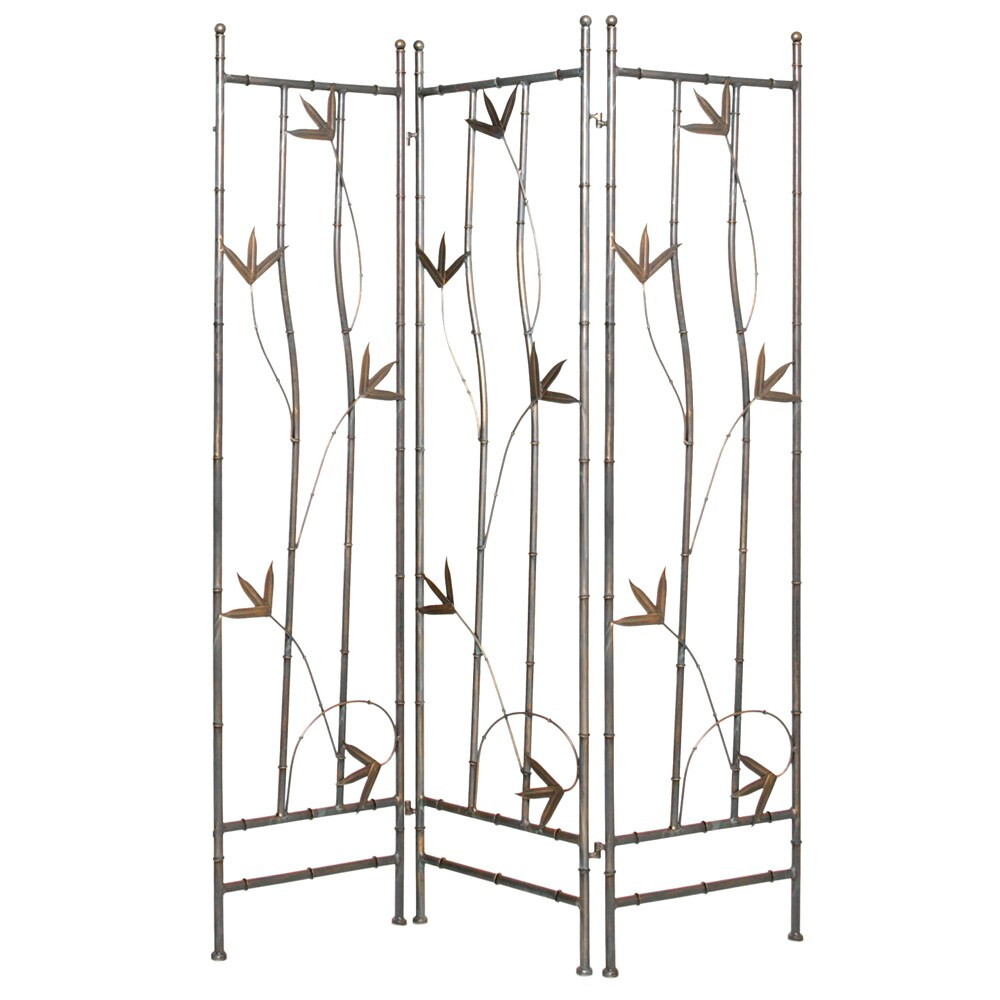 Handmade Wrought Iron Bamboo Leaf 3-panel Screen (China) ...