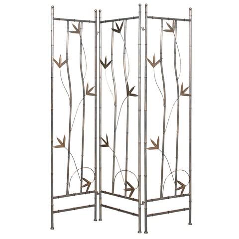 Handmade Wrought Iron Bamboo Leaf 3-panel Screen (China)