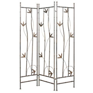 Handmade Wrought Iron Bamboo Leaf 3-panel Screen (China)