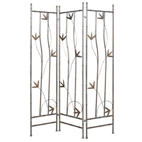 Shop Handmade Wrought Iron Bamboo Leaf 3 panel Screen China On