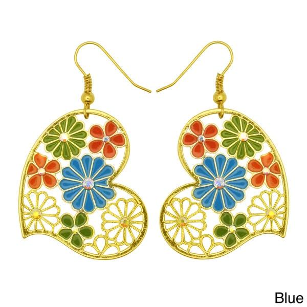 Kate Marie Goldtone Multi-colored Vintage Floral Earrings
