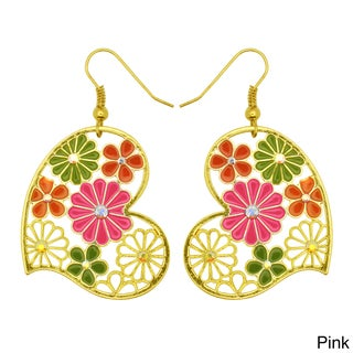 Kate Marie Goldtone Multi-colored Vintage Floral Earrings (3 options available)