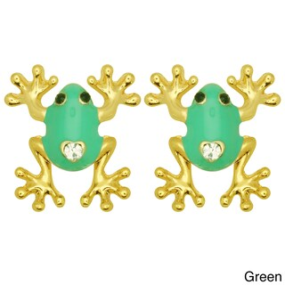 Kate Marie Goldtone Rhinestone and Colored Enamel Frog Earrings (4 options available)