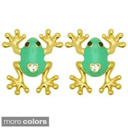 Kate Marie Goldtone Rhinestone and Colored Enamel Frog Earrings