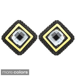 Kate Marie Two-tone Black or Silvertone Rhinestone Stud Earrings