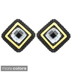 Kate Marie Two-tone Black or Silvertone Rhinestone Stud Earrings